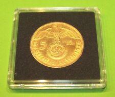 5 Reichsmark Hindenburg mit HK 1938 D - 24 Karat vergoldet Münze 900 Silber