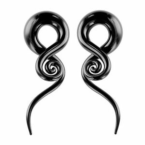 Black Glass Ear Tapers 6G-0G Twist Pyrex with Spiral End 2pc