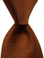 FACONNABLE Men's 100% Silk XL Necktie ITALY Designer Geometric Orange/Gray GUC