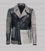 New Mens Gray Black  Brando Full Silver Studded Cowhide Biker Leather Jacket
