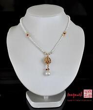 Formal Freshwater Pearl necklace Swarvoski elements gold color Bridal Wedding