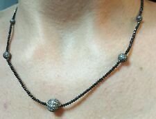 15ct faceted black Diamond pave Diamond disco ball bead necklace 925 silver