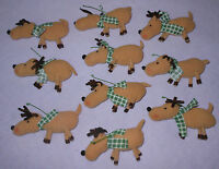 Harry David Holiday Cloth Reindeer Scarf Christmas Ornaments Set 10 Decorations