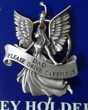 Guardian Angel DAD Drive Carefully Auto Keychain; Solid Pewter, Made in USA NEW