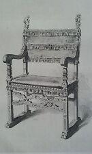 Eau Forte FAUTEUIL bois sculpté travail VENITIEN XVIème SAUVAGEOT LOUVRE