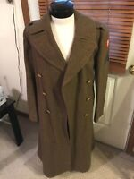 WWII era US Army Officer wool overcoat trenchcoat 4th Army patch Corporal 36R