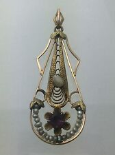 Early Victorian 10k Gold Filigree Pendant - Seed Pearl and Amethyst Stone A406