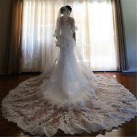 2018 White Cathedral Wedding Veils 2T With Comb Ivory Bridal Lace Applique Veils