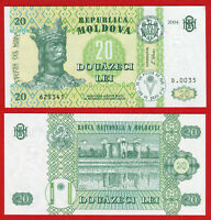 MOLDOVA: 2004 UNC 20 LEI BANKNOTE NOTE BILL CURRENCY P13e UNC
