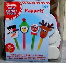 Foamies Holiday Activity Bucket Stick Puppets (Makes 32) - Group Christmas Craft