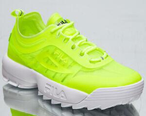 Fila Disruptor Run Women's Neon Lime White Chunky Lifestyle Sneakers Shoes