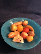 Vintage 1960's Italian Marble Stone Fruit 12 Pieces Mini With Glass Deco Bowl