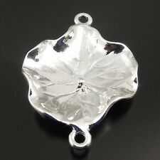 31334 Silver Tone Alloy 3D Lotus Leaf Pendant Connector Jewelry Finding 20pcs