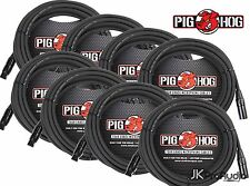 8 PACK Pig Hog 8mm Mic Cable, 25' foot XLR to XLR w/ LIFETIME Warranty. PHM25