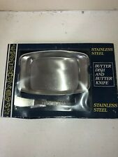 Vintage Boxed  Stainless Steel Butter Dish And Butter Knife Set