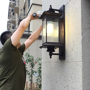French Country Large Square Metal Lantern Ribbed Glass Outdoor Gate Wall Lights