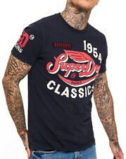Superdry Famous Flyers Crew Neck T-shirt Print Crew Neck Cotton Tee Navy Blue