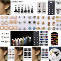 6/12/24Pairs Women Earring Set Crystal Ear Stud Plastic Earrings  Mix Color Gift
