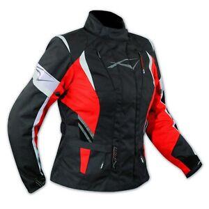Ladies Motorcycle Motorbike Thermal Waterproof Textile Touring Jacket Red XL