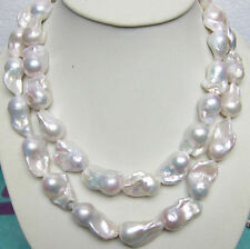 """Long 36"""" 14-25mm Natural South Classic Baroque White Akoya Pearl Necklace AAAAA"""