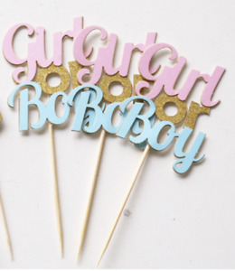 12 x Gender Reveal Girl or Boy Pink Blue Cupcake Toppers GoldGlitter Baby Shower