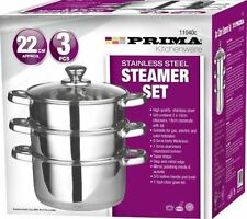 PRIMA 22CM 3PC STAINLESS STEEL STEAMER COOKER POT SET GLASS LIDS 3 TIER PAN COOK