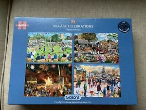 'VILLAGE CELEBRATIONS' 4 x 500 PIECES GIBSONS JIGSAW PUZZLE.