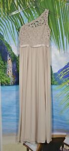 DAVID'S BRIDAL Girls' Biscotti Beige One Shoulder Long Lace Bodice Dress 14