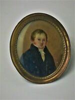 Portrait d' homme en habit, miniature XIXème