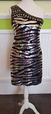 Quiz Black and Silver Sequin Sparkle One Shoulder Bodycom Dress Size 6 Party