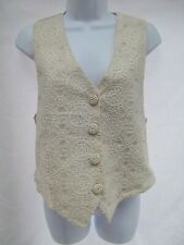 vtg Casual Corner ivory crochet lace tulle satin belt button vest Victorian MINT