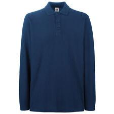 Fruit of The Loom Ss258 Mens Premium Long Sleeves Polo Tshirt Casual T-shirt Top Navy L