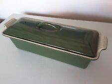 Le Creuset 28cm Cast Iron Terrine and Lid. Green Enamel.  28cm