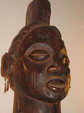 "RARE AFRICAN CARVED WOOD TRIBAL 34"" PRIMITIVE STATUE FIGURE  *FINE DISPLAY ART"