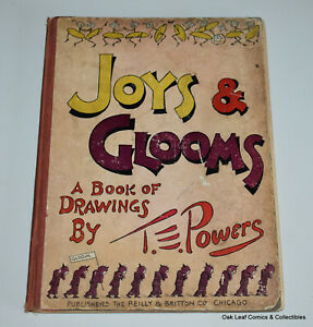 Joys & Glooms A Book of Drawings by T.E. Powers Vintage 1912 Hardcover funnies