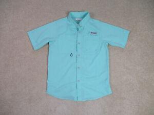COLUMBIA PFG Button Up Shirt Youth Large Green Fishing Outdoors Boys Kids *