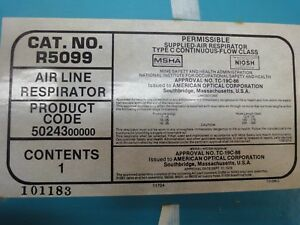 A-O Air Line Supplied Half Face Respirator NEW NIB w/ 50' of  300 psi Hose