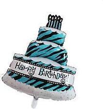 "Happy Birthday 3 Layer Cake Foil Balloon Blue 16"""