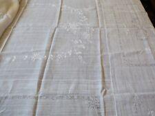 VTG Madeira Semi sheer Cotton White Embroidery cut work Decor Tablecloth 83X63