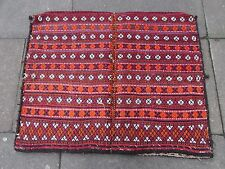 Old Hand Made Persian Oriental Wool Red Colourful Tribal Kilim Bag 111x88cm