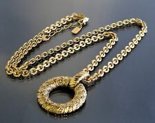 100%Authentic Yves Saint Laurent YSL Circle Gold-Tone Chain Necklace Pendant