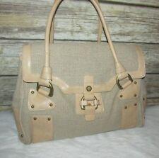 Nicoli Beige Woven Linen Cotton Beige Leather Trim Purse Shoulder Bag Tote