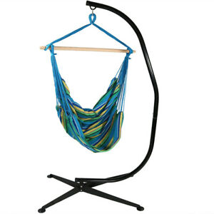 Sunnydaze Extra Large Hanging Hammock Chair Swing with C-Stand - Ocean Breeze