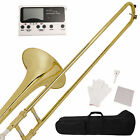 School Band Student Bb Slide Trombone Golden Professional w/Tuner Case Care Kit
