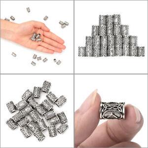 24PCS Norse Viking Runes Beads For Bracelets Necklace Hair Beard Decor Jewelry