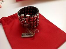 NWT Uno de 50 Heavy Leather Studded Hook Closure Bracelet 2""