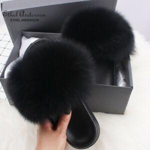 Real Farm Fox Fur Slides Home Furry Flat Sandals Cute Fluffy House Shoes  Luxury
