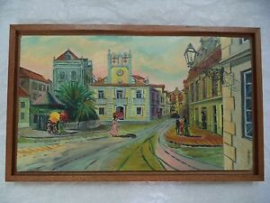 """OIL PAINTING IN WOOD EVERYDAY SCENE IN BRAZIL SIGNED ANDREAS 16"""" x 10"""" """"CHURCH"""""""