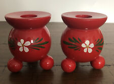2 Wooden Candle Holders Sweden Hand Painted