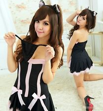 Women's Costume Cat Ears Sexy Dress Uniform Cosplay Sweet G-string Black YXT1105
